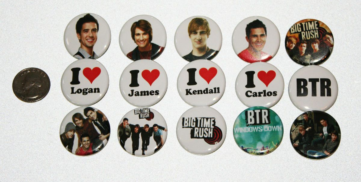 15 NEW BIG TIME RUSH band Buttons Pins Badges Windows Down cd BTR 1 25