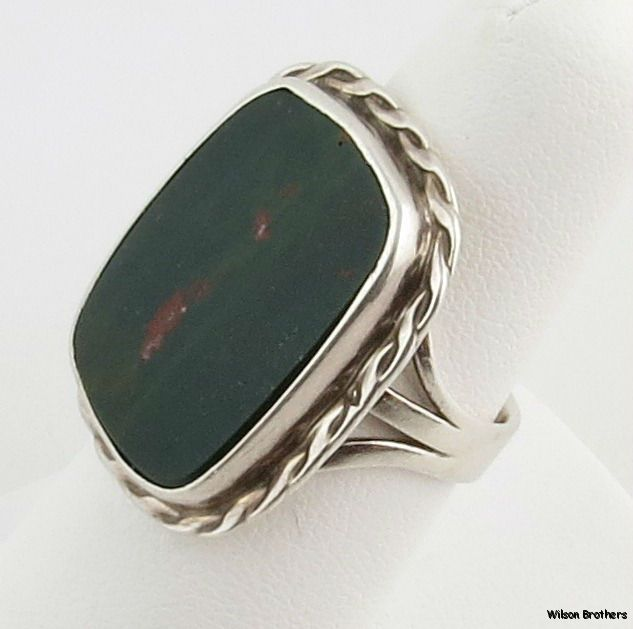 Bloodstone Ring Sterling Silver Size 7 Solitaire Chunky