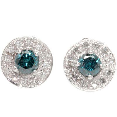 Delicate Genuine Blue White Diamond Earrings 0 66 CTW in Solid 14k