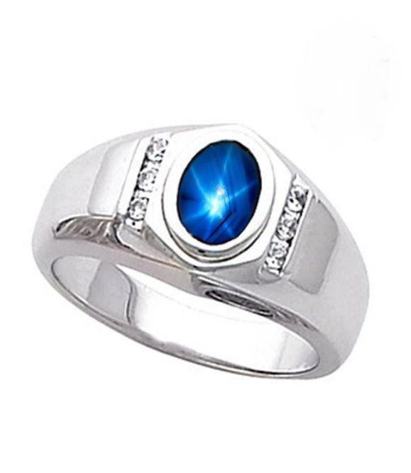 Mens Lab Created Blue Star Sapphire Accented Ring Solid Sterling