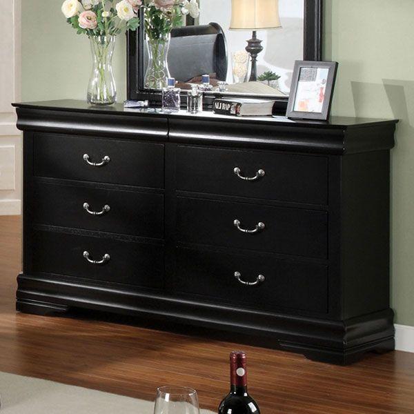 Braxton Solid Wood Black Finish Bedroom Dresser