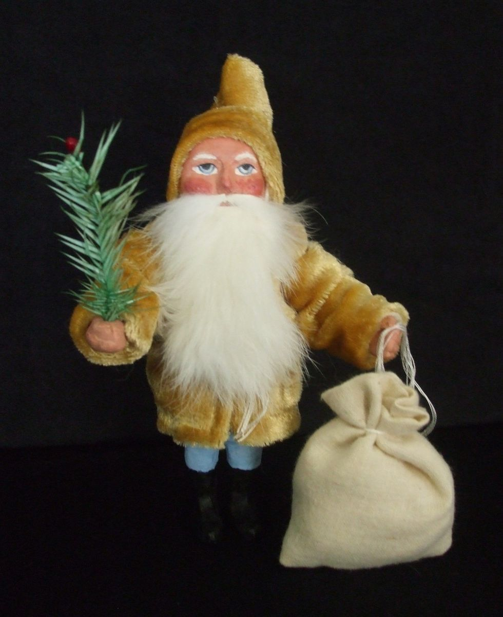 German Style Santa Paper Mache Candy Container OOAK Angie Clark