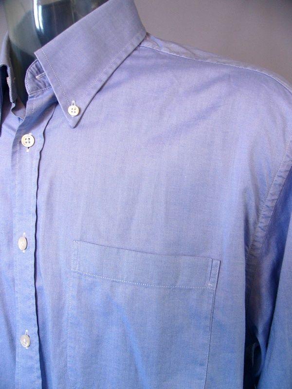 Charles Tyrwhitt Oxford Blue Long Sleeve Cotton Shirt Normal Cuff 16 1