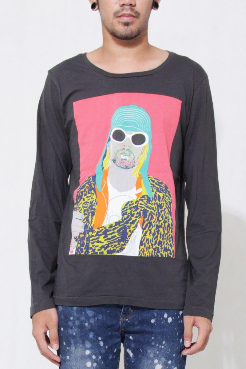 Kurt Cobain Nirvana Mens Long Sleeve Gray Rock T Shirt