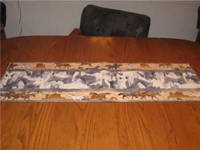 handcrafted quilted table runner horses western
