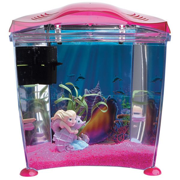 Complete Little Pink Mermaid Princess Girl Fish Tank Desktop Easy Use