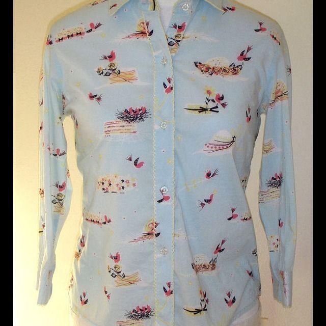 Anthropologie Odille blue Sparrow Bird Print Shirt Blouse Top Button