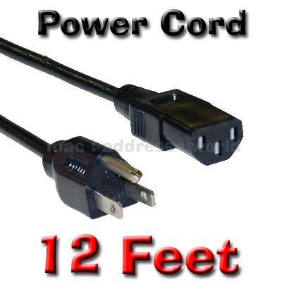 Extra Long Plasma LCD LED TV Power Cord 12ft Cable Panasonic LG Sharp