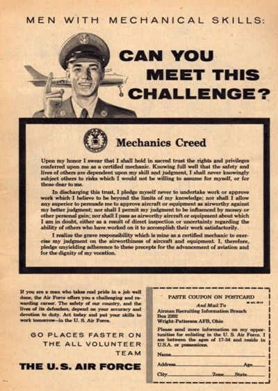 1956 US Air Force Aircraft Mechanics Creed Recruitment