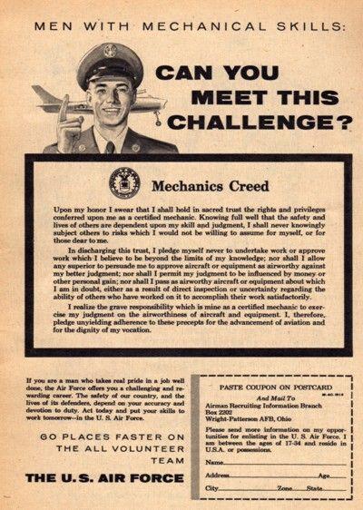 1956 US Air Force Aircraft Mechanics Creed Recruitment