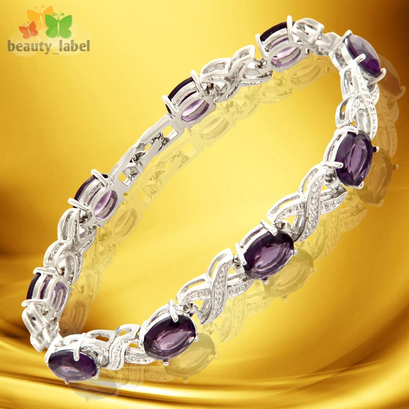 Fashion Lady Jewelry Purple Amethyst White Gold Plated Bracelet Hand
