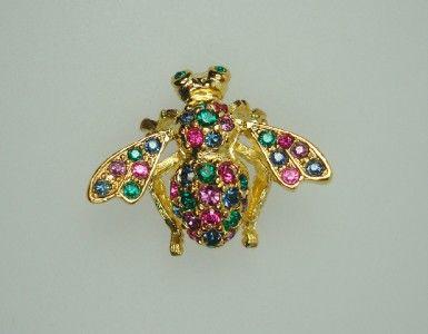 Joan Rivers Multi Color Crystal Rhinestone Bee Pin Brooch Insect Bug
