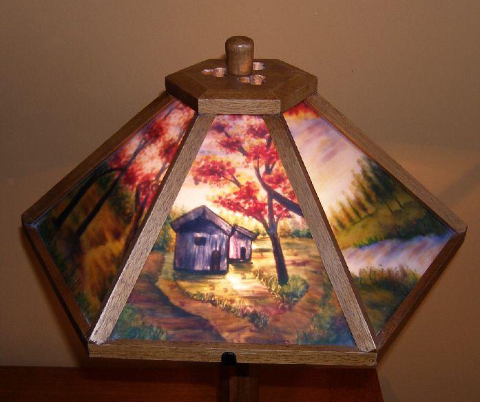 Dale Tiffany Reverse Painted Glass Panel Craftsman Lamp Oak Base and