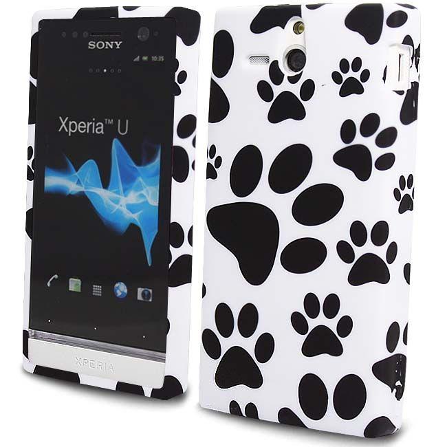For Sony Ericsson Xperia U ST25i Paws Footprint White Silicone Gel