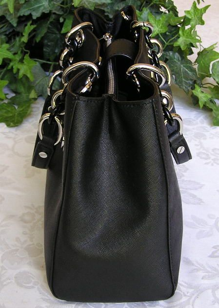 Michael Kors Saffiano Leather Medium Satchel Bag Purse Black NWT