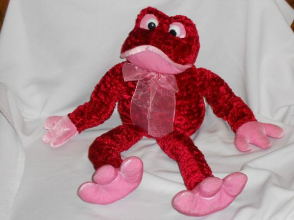 Dan Dee Collectors Choice Frog Red Pink Plush Stuffed Animal 17