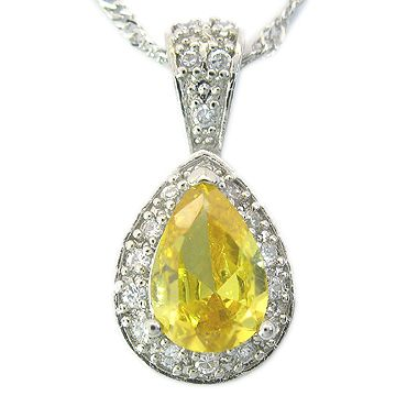 Jewelry Pear Cut Yellow Citrine White Gold Plated GP Pendant
