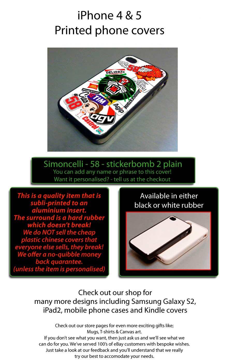 marco simoncelli plain fits iphone 4 4s cover case, 58 moto ducati