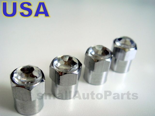 Crystal Clear Chrome Diamond Tire Wheel Stem Air Valve Caps Covers