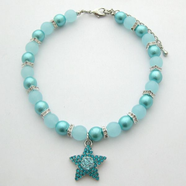 Dog Pearls Necklace Pet Collar with Blue Star Charm 10 12 Pet