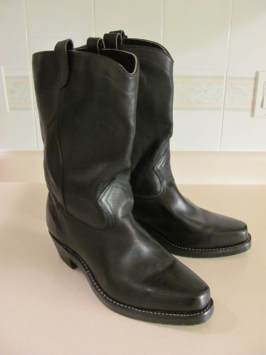 VINTAGE DOUBLE H BRAND BLACK LEATHER MOTORCYCLE BOOTS SIZE 13 NEW OLD
