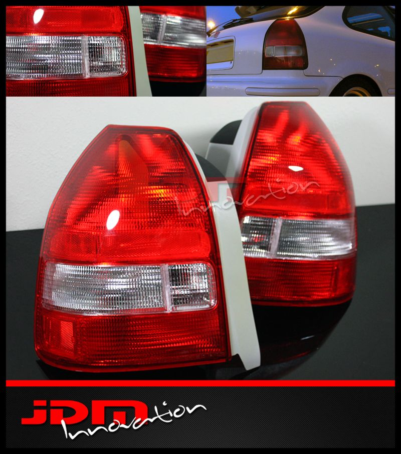 EK EK9 Hatchback JDM Red Clear Tail Lights Brake Lamp Assembly
