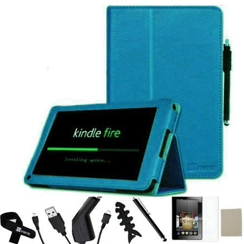 Kindle Fire PU Leather Case Cover Car Charger USB Cable Stylus P