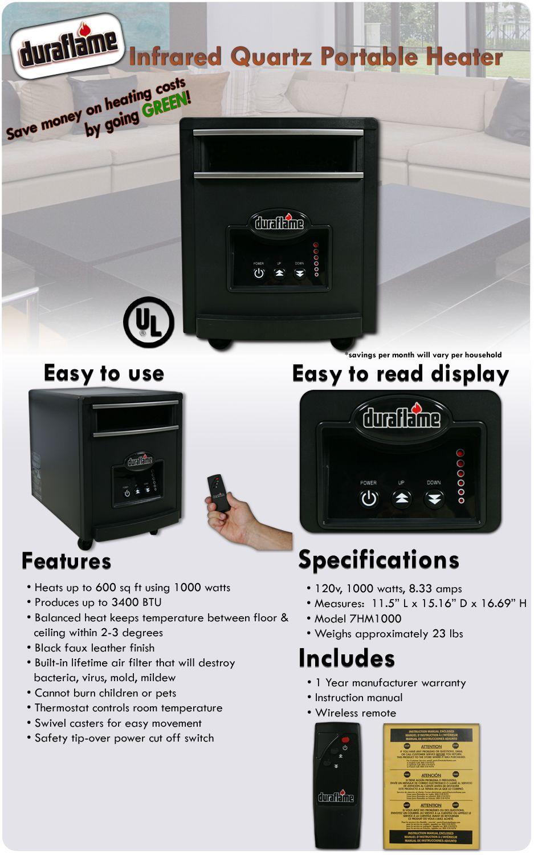 DURAFLAME Infrared Quartz Portable Room Space Electric Heater