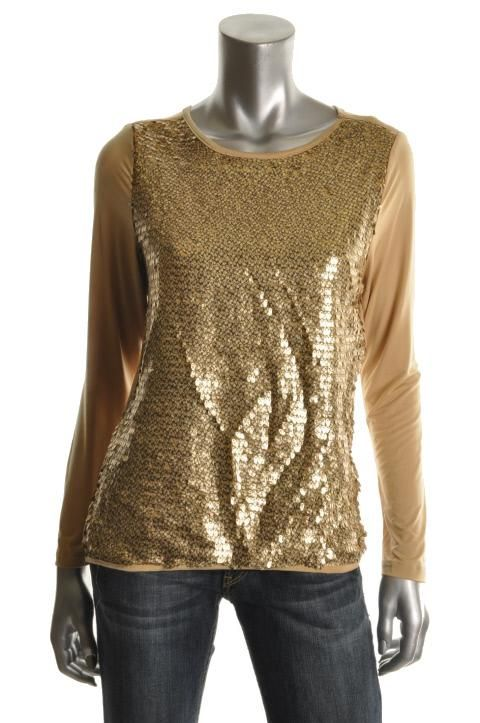 Ellen Tracy New Gold Sequined Front Jewel Neck Blouse Shirt Top M BHFO