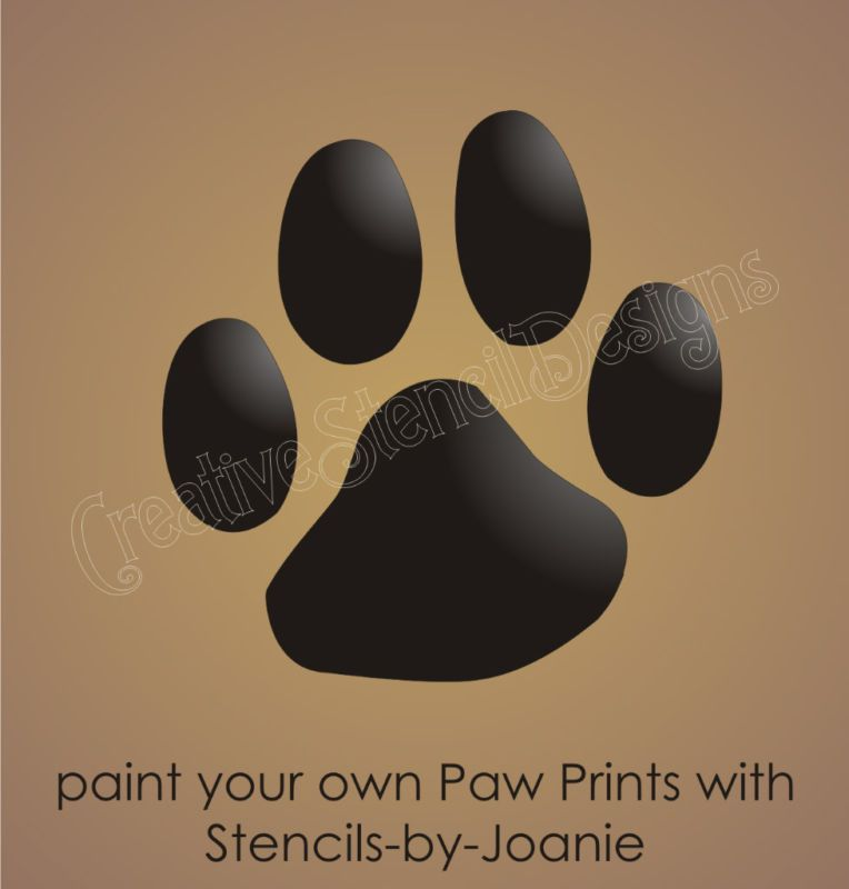 Paw Print Stencil 1 75 Animal Track Canine Pet Dog Cat Face Paint