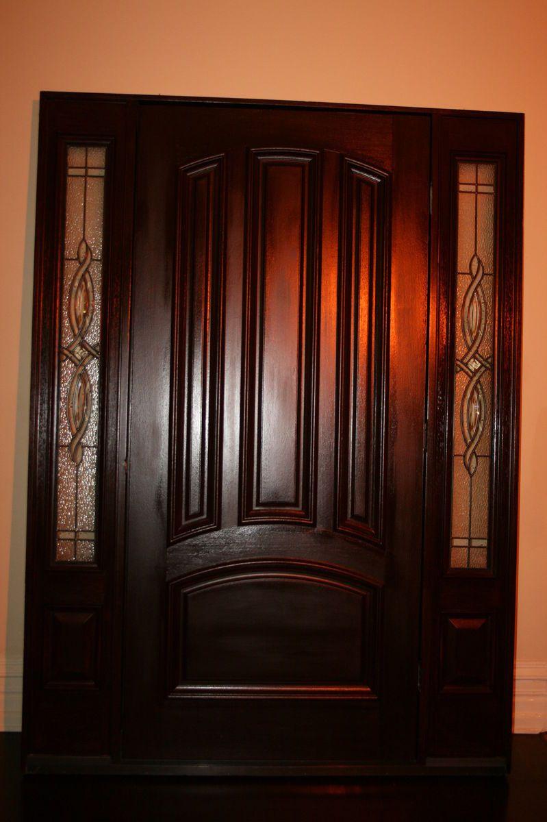 Therma Tru Fiberglass Entry Door 2 Side Lites Dark Mahogany Stain