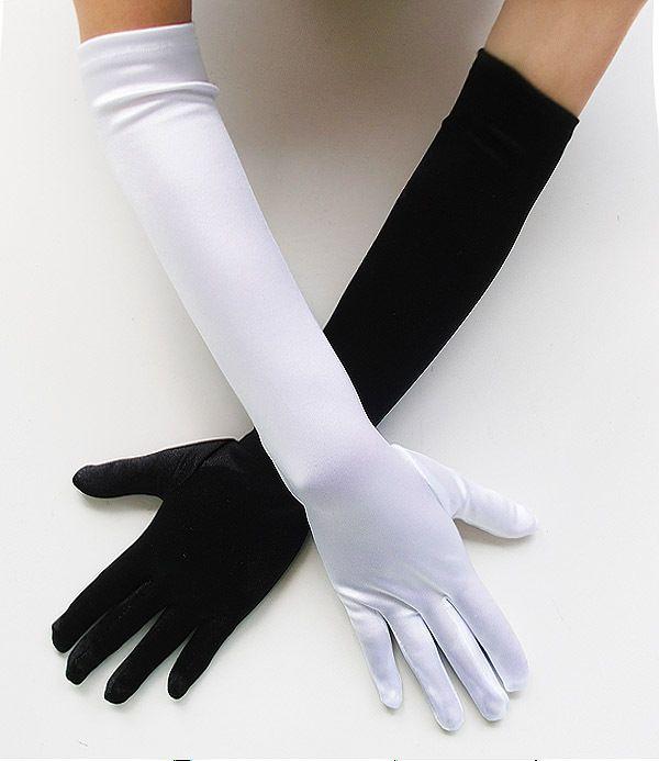 Stretch Satin Black White Gloves Bridal Wedding Prom Opera