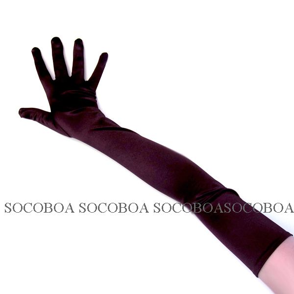 Brown Stretch Satin Over the Elbow Wedding Prom Formal Long Gloves new