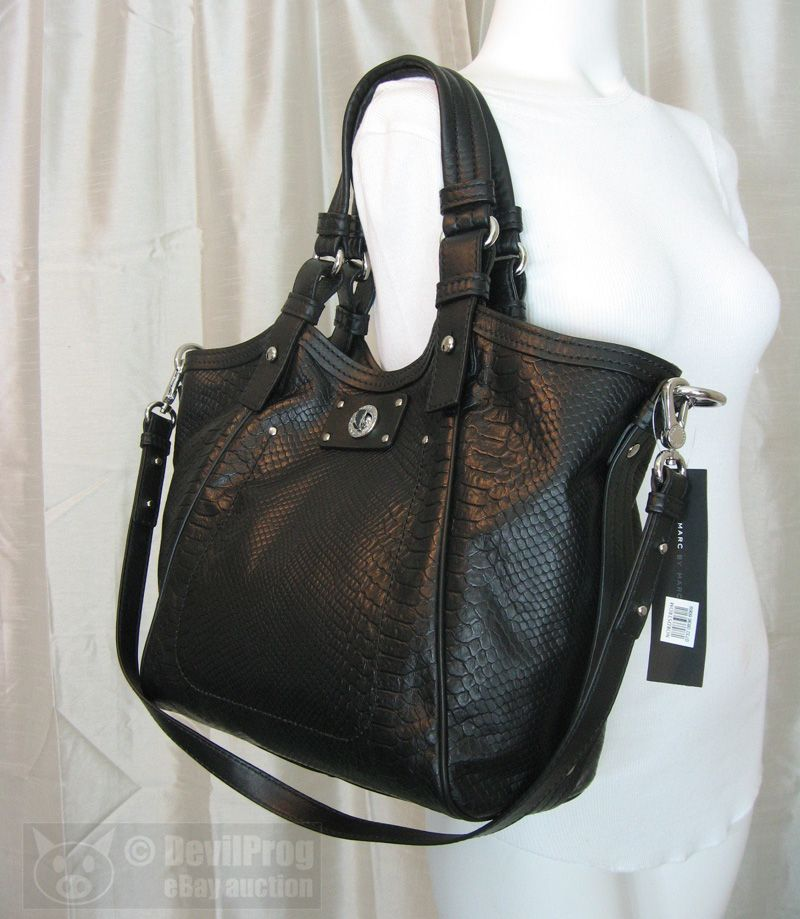 37f602b142ff MARC JACOBS Totally Turnlock Fran Python Embossed Tote BLACK Bag NEW