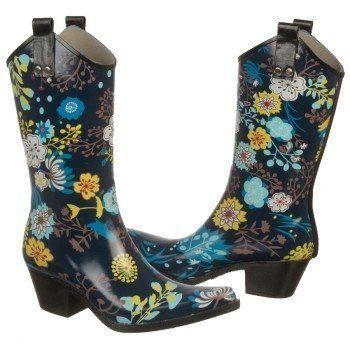Nomad Yippy Navy Garden Fashion Women Western Cowboy Rain Boots Size 6