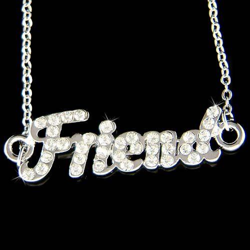 Crystal Love Best Friends Friend Letters Friendship Pendant Necklace