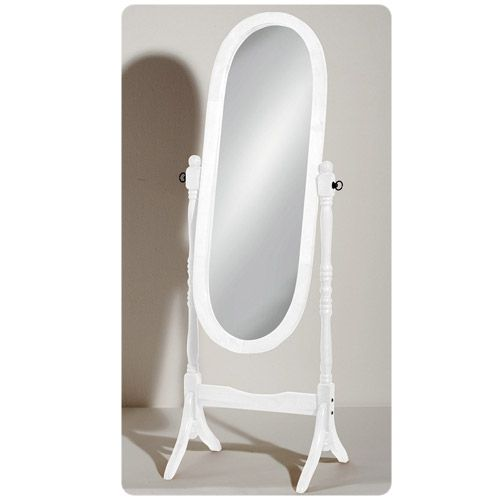 White Wooden Free Standing Full Length Cheval Mirror