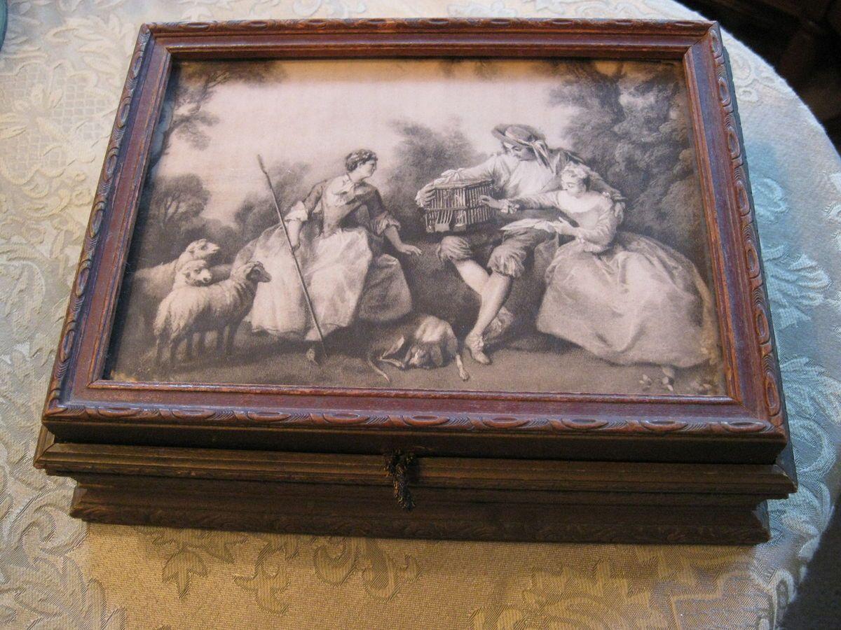 Antique German Wood Trinket Jewelry Box with Black White Print Mirror