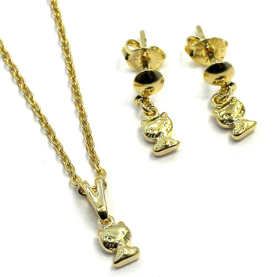 Set Gold 18K GF Small Hello Kitty Tiny Charm Pendant Dangle Earrings