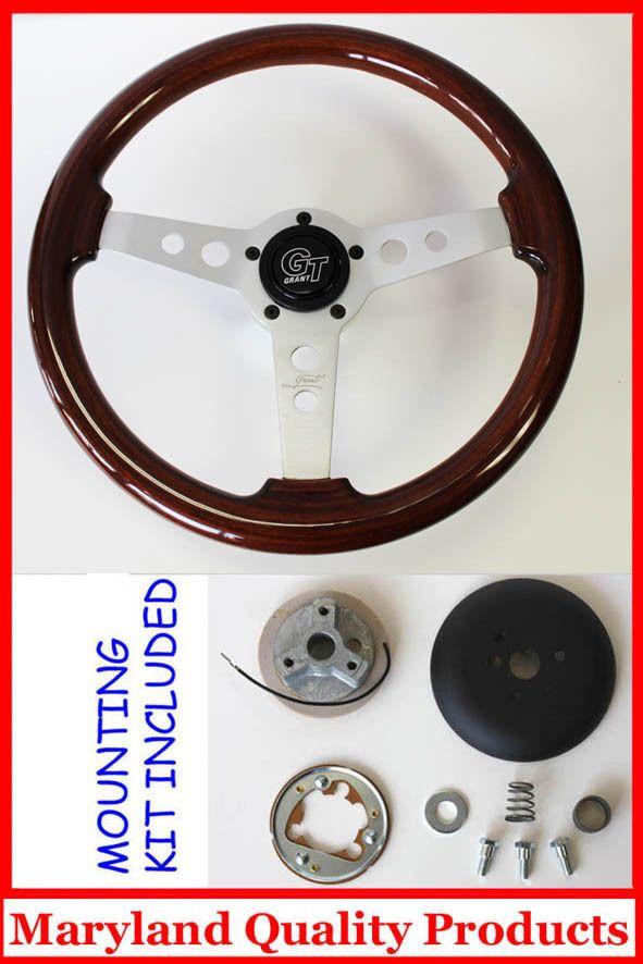60 73 VW Volkswagon Grant Wood Steering Wheel Mahogany 14