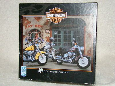 HARLEY DAVIDSON FAT BOY BY SCOTT JACOBS JIGSAW PUZZLE EUC