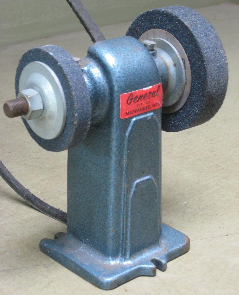 General Tool Co 4 Belt Driven Grinding Wheel Bench Grinder Grindstone