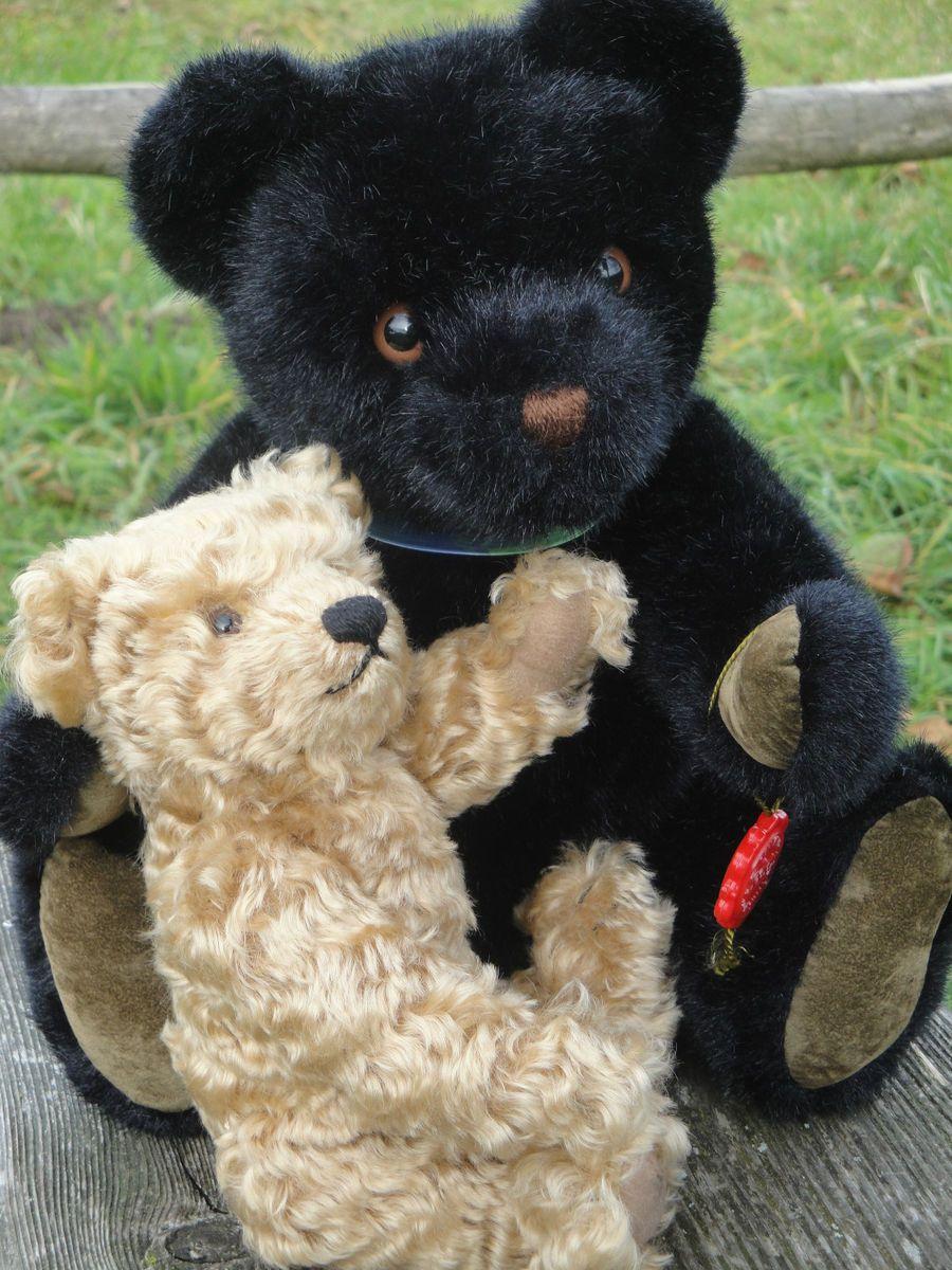 TWO TEDDY BEAR BEARS STEIFF HERMANN w BUTTON TAG FLAG MINK DESIGN 15