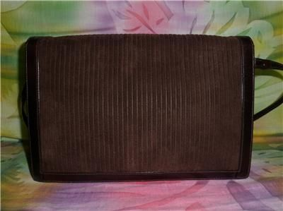 Jay Herbert NY Brown Ribbed Suede Leather Clutch Purse w Strap