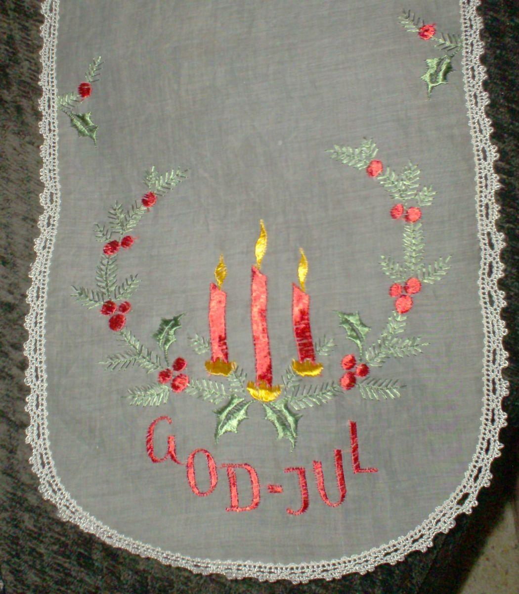 Vintage GOD JUL Dresser Scarf Table Runner Christmas Candles