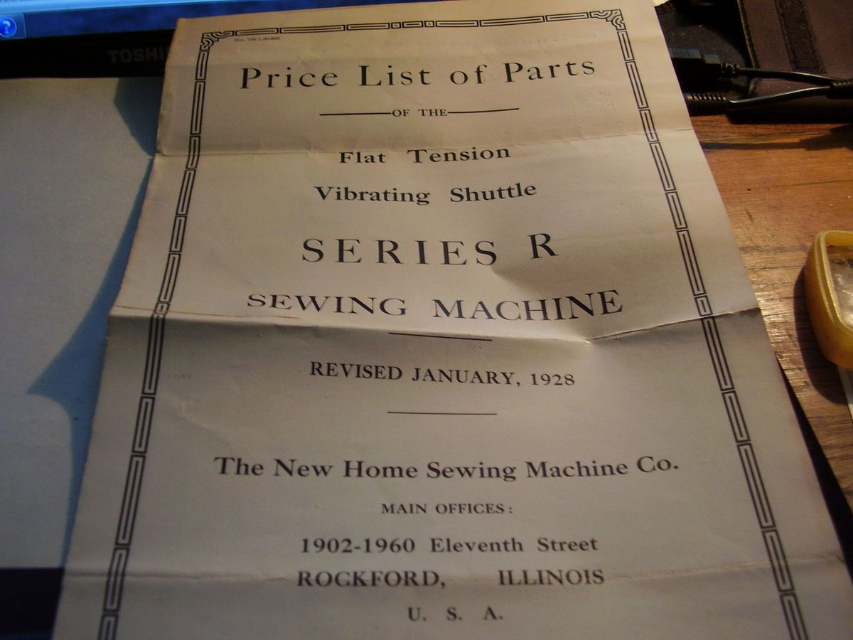 New home sewing machine 1928 parts price list series r for New home price list