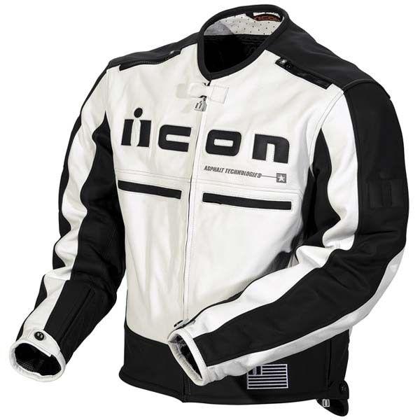 Icon Mens Motorhead Leather Motorcycle Jacket White Black Large 1533