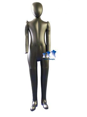 Inflatable Child Mannequin Full Size with Head Arms Matte Black