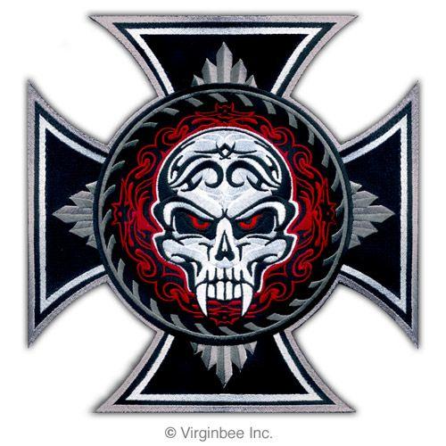 Huge Iron Cross Savage Skull Tattoo Biker Jacket Rider Vest