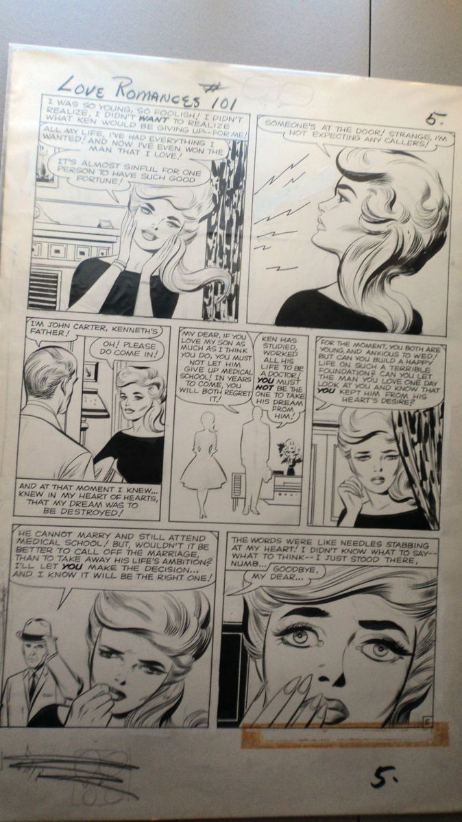 Jack Kirby Original Art Page from Love Romances 101 Marvel Early 1960